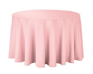 Pink 10 Light Round Woven Polyester Quantity Tablecloth