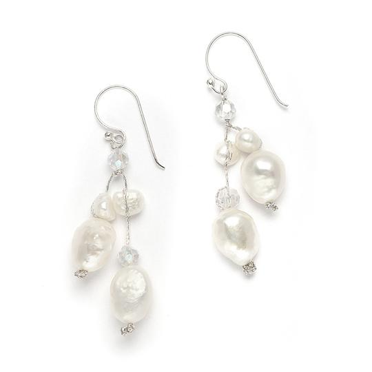 Mariell Genuine Freshwater Pearls & Crystals Beach Wedding Earrings 3685e