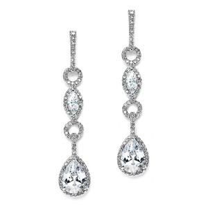 Mariell Silver Glamorous Linear Pave Cubic Zirconia 3694e Earrings