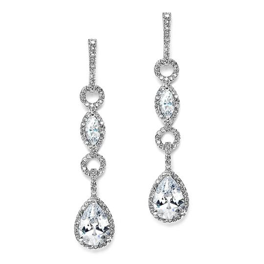 Mariell Glamorous Linear Pave Cubic Zirconia Wedding Earrings 3694e