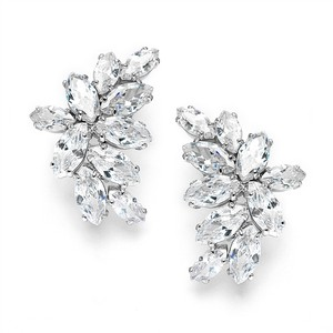 Mariell Clip-on Cubic Zirconia Marquis Cluster Earrings 3598ec