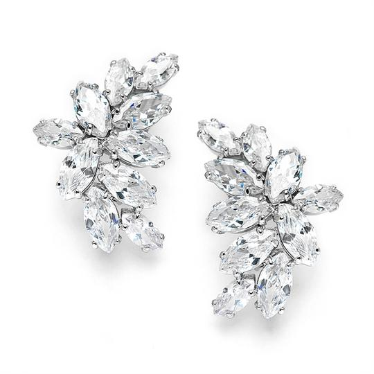 Mariell Silver Clip-on Cubic Zirconia Marquis Cluster 3598ec Earrings