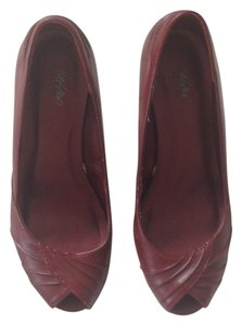 Mossimo Supply Co. Stacked Heel Wooden Heel Deep Embellished Peep Toe Maroon Faux Leather wine, burgandy, red Pumps
