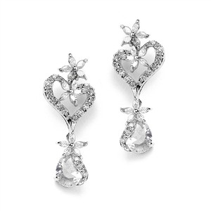 Mariell Silver Cubic Zirconia Heart Shaped with Flowers and Pears 4040e Earrings