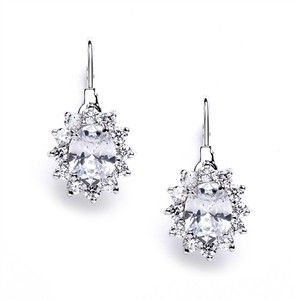 Mariell Silver Vintage Oval Solitaire Cubic Zirconia with Lever Backs 4057e Earrings