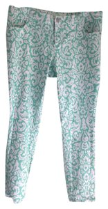 Old Navy Hip Hipster Bohemian Funky Straight Pants Mint And White Boho