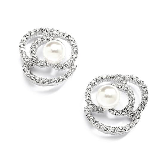 Mariell Silver Designer with Cubic Zirconia and Pearl Flowers 4055e Earrings