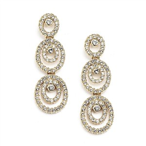 Mariell Concentric Ovals Gold Wedding Or Prom Earrings With Cubic Zirconia 4066e-g