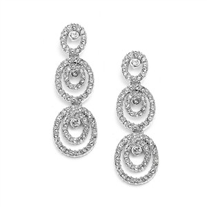 Mariell Oncentric Ovals Wedding Or Prom Dangle Earrings With Cubic Zirconia 4066e-s