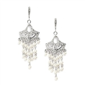Mariell Silver Vintage Pearl Chandelier with Cubic Zirconia Encrusted French Wires 4067e Earrings