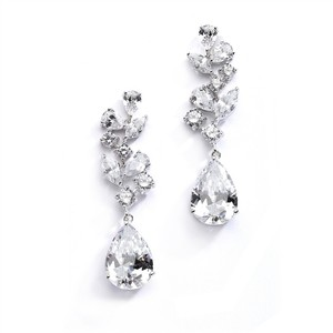 Mariell Magnificent Cubic Zirconia Red Carpet Dangle Wedding Earrings 4074e