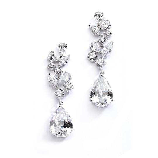 Mariell Silver Magnificent Cubic Zirconia Red Carpet Dangle 4074e Earrings