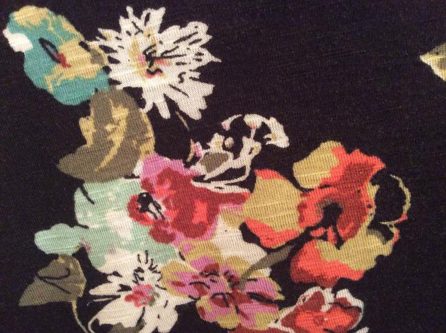 American Rag Rayon Flowered Soft T Shirt Multi-color over black