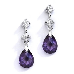 Mariell Silver/Amethyst Cz Or Bridesmaids with Crystal Drops 4078e-am Earrings