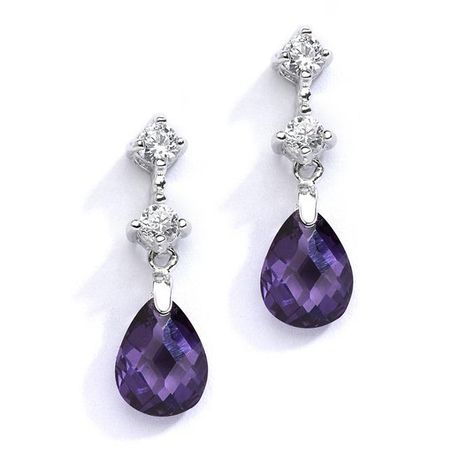 Item - Silver/Amethyst Cz Or Bridesmaids with Crystal Drops 4078e-am Earrings