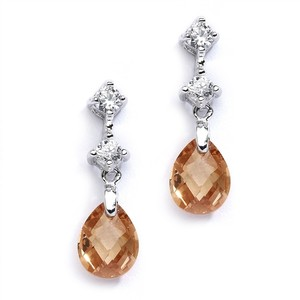 Mariell Cz Bridal Or Bridesmaids Earrings With Champagne Crystal Drops 4078e-ch
