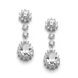Mariell Silver Cubic Zirconia Or Bridesmaids Dangle with Cz Frame 4041e Earrings