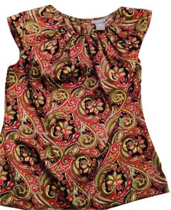 Ann Taylor Top Multi - Black, Green, Red, Yellow