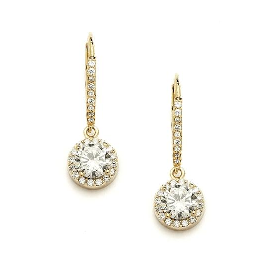 Mariell Delicate Cubic Zirconia Gold Pave Drop Bridal Earrings 4095e