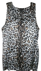 White House | Black Market Leopard Silk Sleeveless Cowl Neck Top Leopard Print