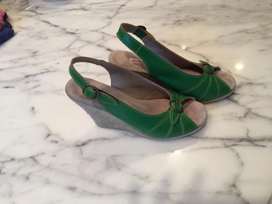 Charlotte Ronson Green with Tan Suede Wedges