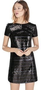 Zara Sequin Party Form Fitting Striped Dress