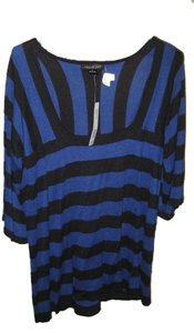 August Silk Top Black and Blue Striped