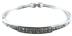 Stainless Steel Silver tone Crystal Rhinestone Squares Bracelet Cuff Bangle, New without Tags