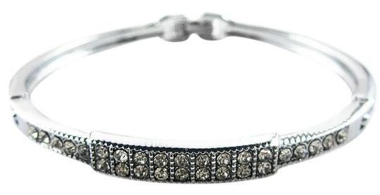 Other Stainless Steel Silver tone Crystal Rhinestone Squares Bracelet Cuff Bangle, New without Tags