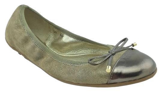Jimmy Choo Gold Hardware Logo Leather Taupe Flats