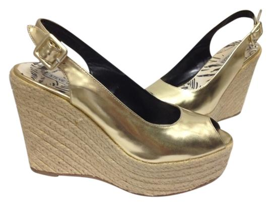 Steve Madden Leather Patent Wedges Gold Pumps