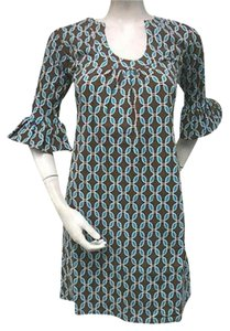 Tracy Negoshian Betsy Brown Aqua Blue Knit Bell Sleeve Dress
