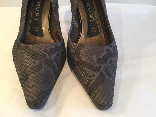 Peter Kaiser Upper Made G.b. Size Gray reptile all leather G.B. 5.5 Pumps