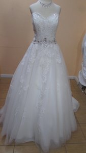 Alfred Angelo Ivory/Silver Tulle+lace 2492 Formal Wedding Dress Size 10 (M)