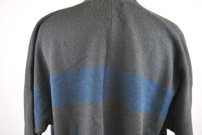 Gap Navy Blue Grey Asymmetrical Open Front Cardigan Sweater