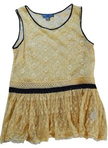 Anthropologie Lace Sleeveless Lace Cream Contrast Trim Top Ivory