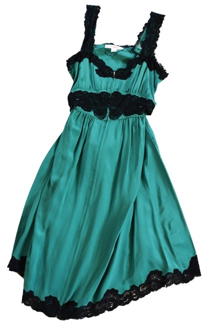 Betsey Johnson Blue Silk Black Lace Lace Trim Zip-up Sleeveless Party Dress