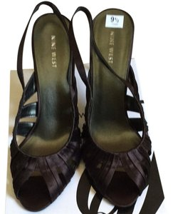 Nine West Dark Brown Satin Pumps