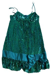 Betsey Johnson Sequin Party Sequins Going Turquoise Spaghetti Straps Silk Silk Bow Bow Mini- Empire Waist Babydoll Dress