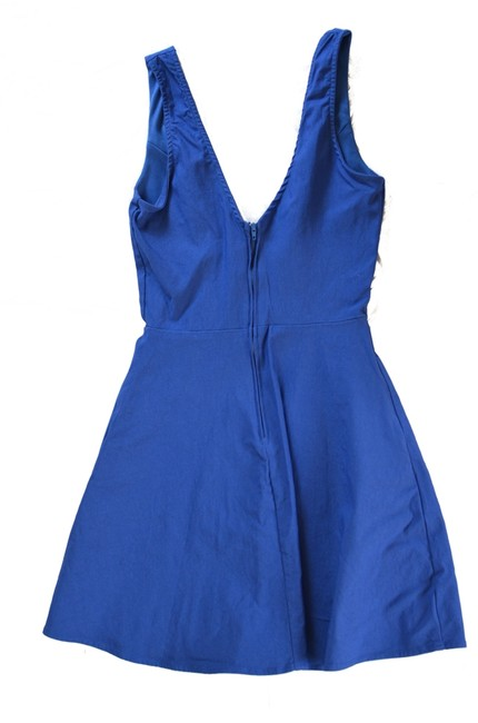 Solemio Party Mini Going-out Deep V-neck V-neck Cobalt Fit And Flare Fit And Flare Dress