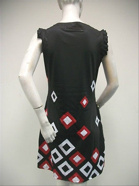 Tracy Negoshian Black Red White Lisa Diamond Print Flutter Mini Dress