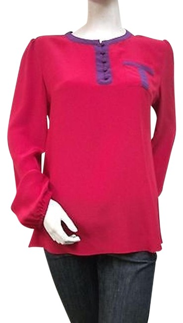 Other By Smith Silk Belleville F1112 Long Peasant Sleeves Top Red