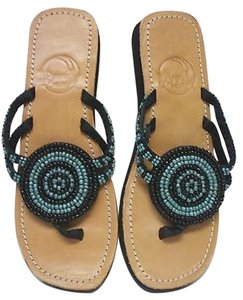 Meeka Beaded Flip Flops black blue Sandals