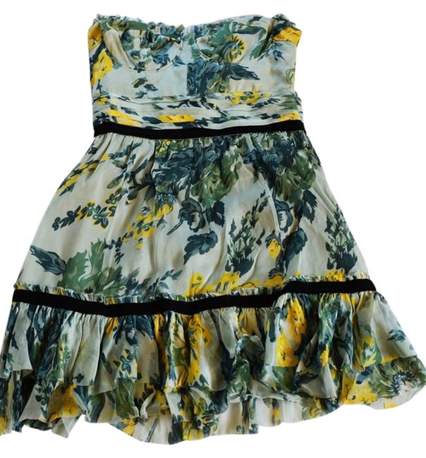 Elizabeth and James Party Top Floral Print Strapless Strapless Silk Silk Contrast Trim Dress