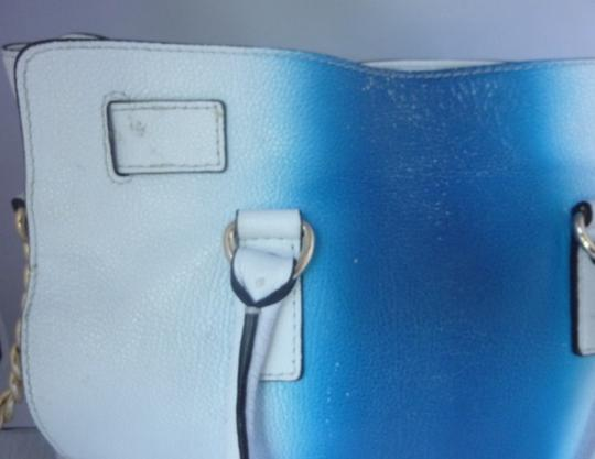 Michael Kors Leather Gold Hardware Tote in Blue/White