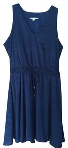 Banana Republic Navy Honeycomb Elastic Waist Blouson V-neck Weddings Dress