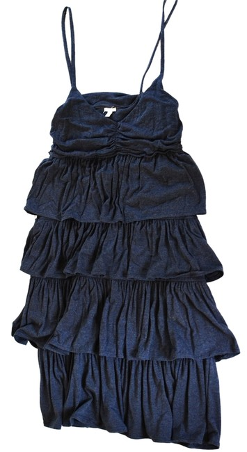 J.Crew short dress Navy Knit Ruffle Sleeveless Blue Knit Ruffles Spaghetti Strap on Tradesy