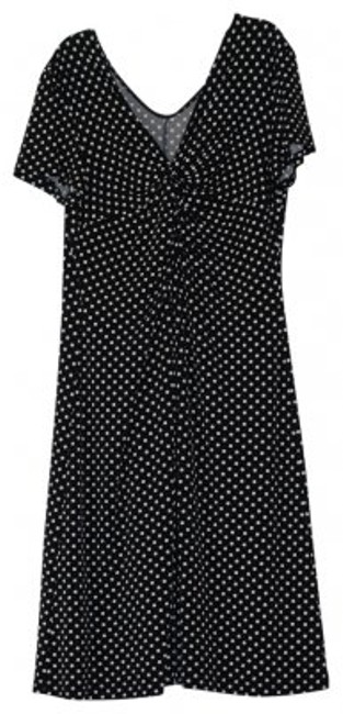 Preload https://img-static.tradesy.com/item/32702/ronni-nicole-black-with-white-polka-dots-simple-knotted-front-jersey-knee-length-workoffice-dress-si-0-0-650-650.jpg