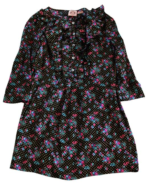Juicy Couture Floral Print Ruffles 3/4 Sleeve Three-quarter Sleeve Printed Party Silk Dress