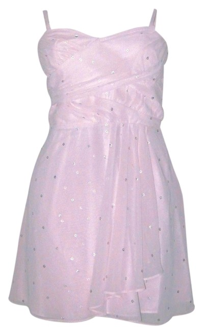 Express Sheer Silver Polka Dot Risdarling Dress